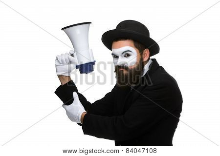 mime as business man with a megaphone