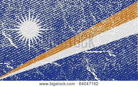 Flag Of Marshall Islands With Old Texture. Vector