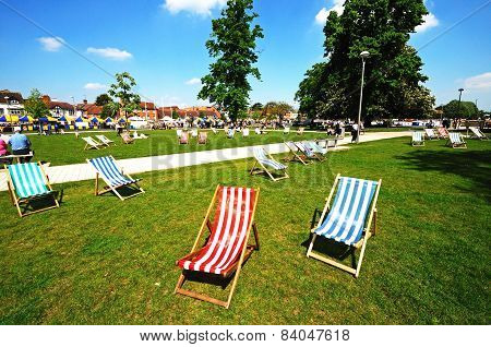 Deckchairs in the park, Stratford-upon-Avon.