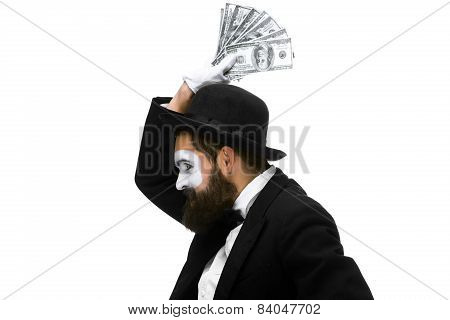 mime as a businessman screaming with delight