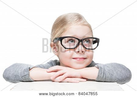 Smart Beautiful Little Girl In Glasses Looking On Something