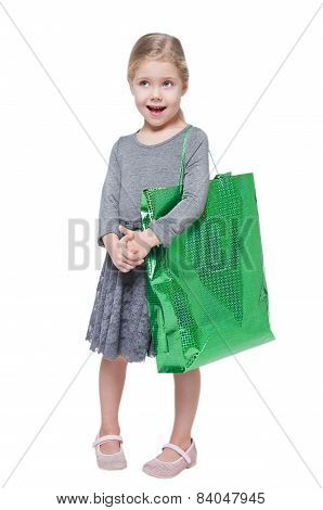 Beautiful Little Girl With Shopping Bag Isolated