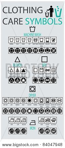 Clothing Care Symbols Icon set