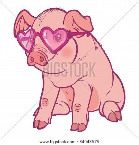 Funny Vector Cartoon  Piglet