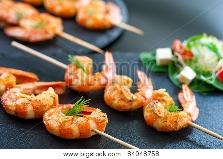 Catering Shrimp Brochettes.