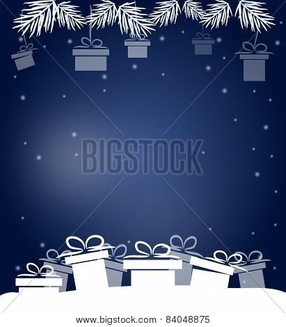 Christmas Blue Background With Gifts