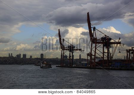 Two Crane Silhouette At Haydarpasa Seaport