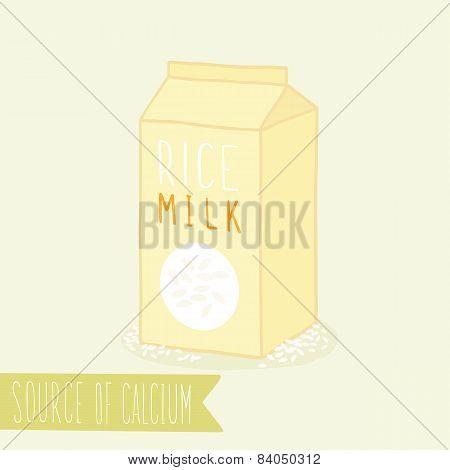 Rice milk in package.