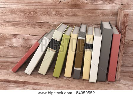 Books On The Wooden Shelf