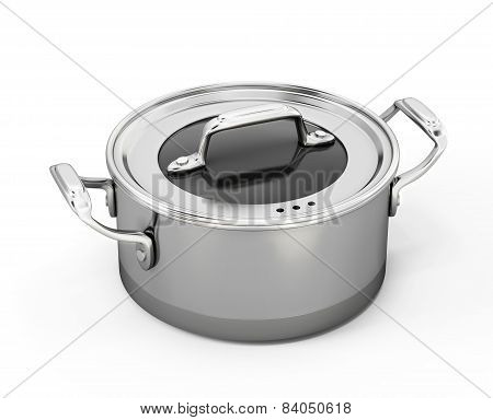 Stainless Pan Isolated On White