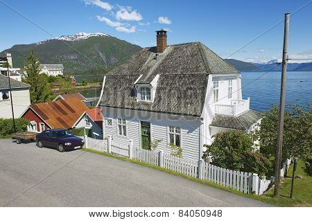 Exterior of the traditional Norwegian hose in Balestrand, Norway.