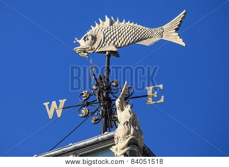 Fish Weather Vane At Old Billingsgate Market In London
