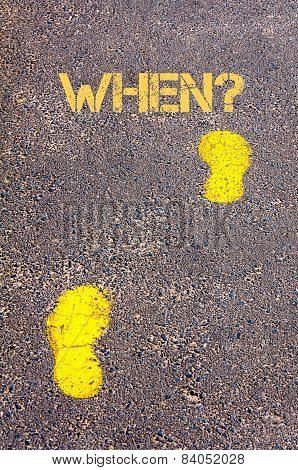 Yellow Footsteps On Sidewalk Towards When Message