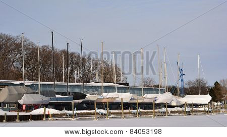 Sailboats in Winter Dry Dock