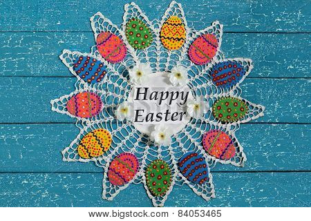 Easter Eggs On Lacy Napkin With A Congratulation