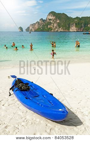Kayak On A Tropical Beach, Holidays Concept.