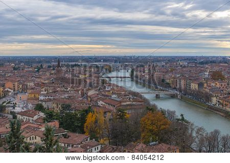 Aerial view of Verona, Italy.