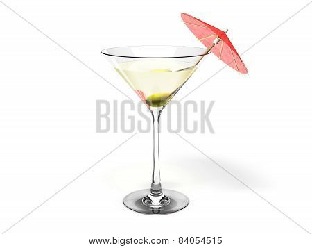 Martini glass with green olive and red coctail umbrella Isolated on white background