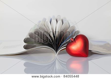 Open Book And Red Heart