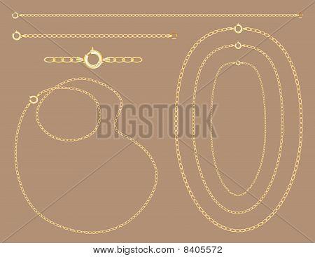 Correntes de ouro, colares, pulseira