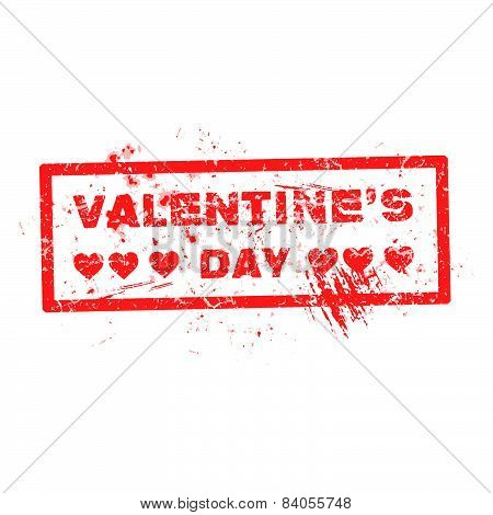 Red Valentine Grunge Hearts Stamp With Text Holiday Illustration