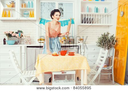 The Girl In The Kitchen Retro Style.