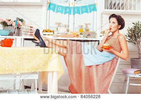Girl With Finger Mouth In The Kitchen.