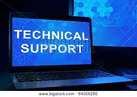 Computer with words technical support.