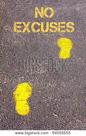 Yellow Footsteps On Sidewalk Towards No Excuses Message