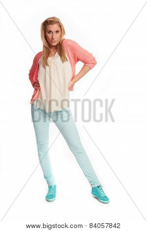 Young Woman With Pink Cardigan