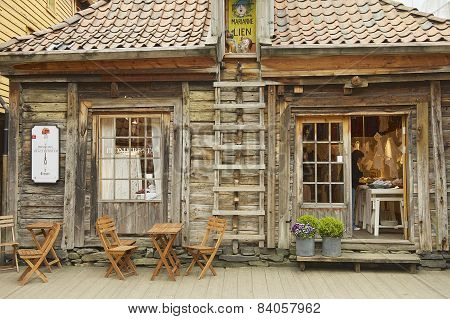 Exterior of the traditional wooden building in Bergen, Norway.