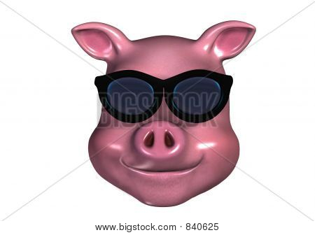 Piggy Emoticon - Cool