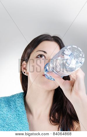 Confident Fitness Woman Drinking Water