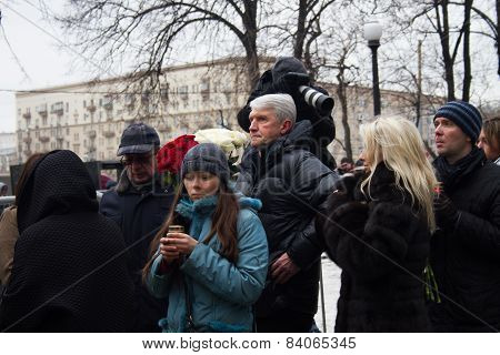 Platon Lebedev In The Queue At The Funeral Of Boris Nemtsov