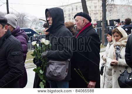 Human Rights Activist Valery Borschev At The Funeral Of Boris Nemtsov