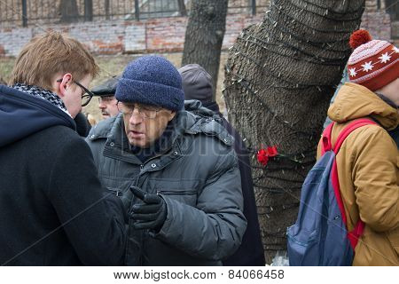 Politician Leonid Gozman At The Funeral Of Boris Nemtsov