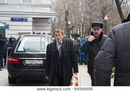 Politician Andrey Nechaev At The Funeral Of Boris Nemtsov