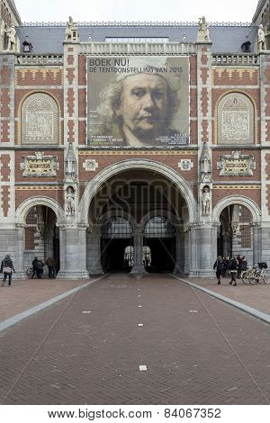 Amsterdam, Netherlands - February 08: Visitors At Rijksmuseum Exterior On February 08, 2015 In Amste