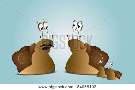 Cartoon snails family