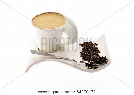 Cup Of Coffee With Milk On A Beautiful Stand Grain Seeds And Spices