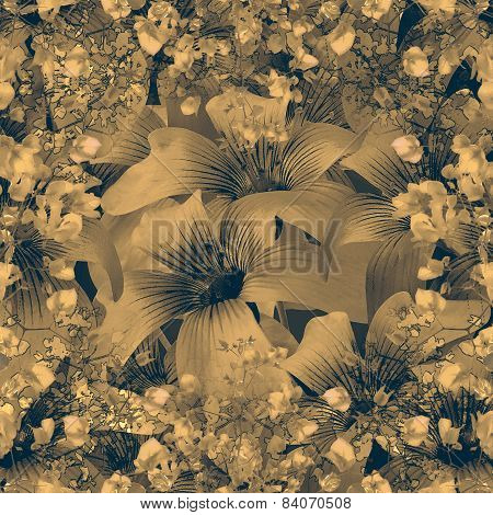Elegant Floral Pattern In Dull Brown Tones