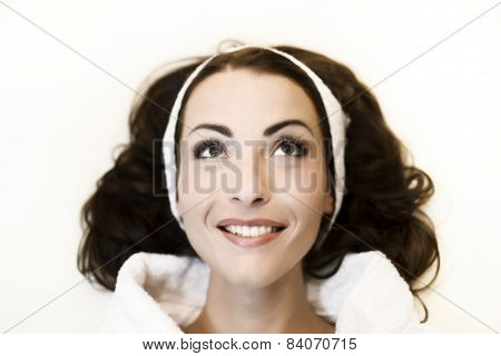 Smiling Woman In White Bathrobe After Spa