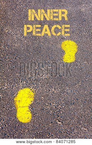 Yellow Footsteps On Sidewalk Towards Inner Peace Message