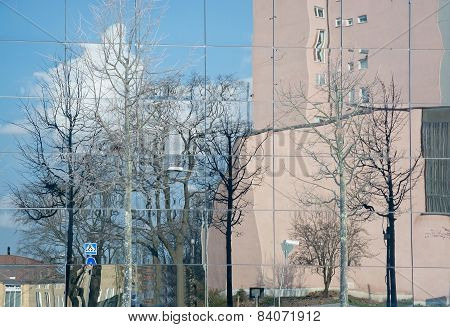 Buildings and trees reflected in modern glass facade