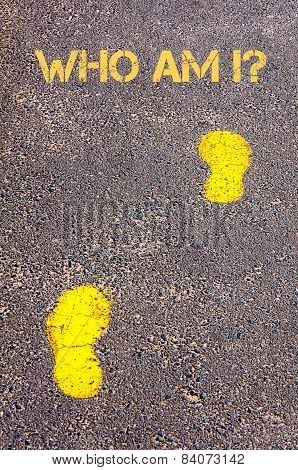 Yellow Footsteps On Sidewalk Towards Who Am I Message