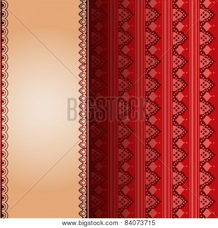 Red Asian henna pattern with banner