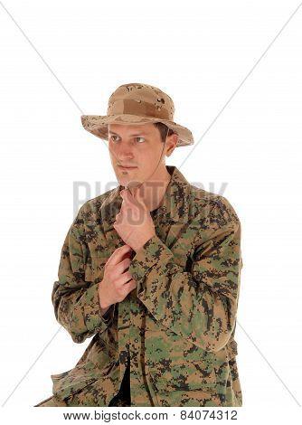 Soldier In Camouflage Uniform.