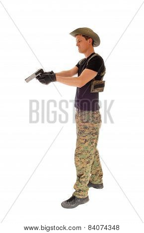 Soldier Aiming His Handgun.