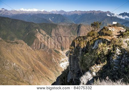 View atop of Machu Picchu Mountain peak