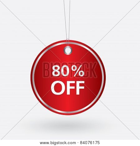 red oval discount 80 percent